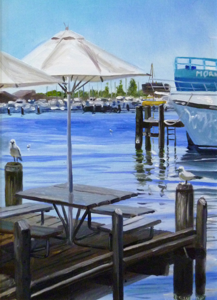 Original Oil Painting on aluminium by Ben Sherar depicting the view from Cicelrello's fish and chip restuarant in Fremantle Western Australia