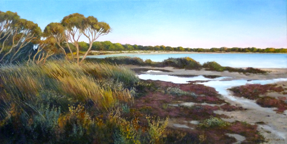 Original Oil Painting on hemp by Ben Sherar of a late afternoon iew of the salt lake in the middle of Rottnest Island in Western Australia