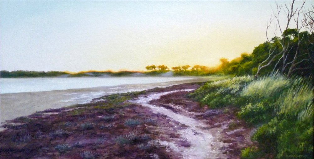 Original Oil Painting on hemp by Ben Sherar of a late afternoon view of the salt lake in the middle of Rottnest Island in Western Australia