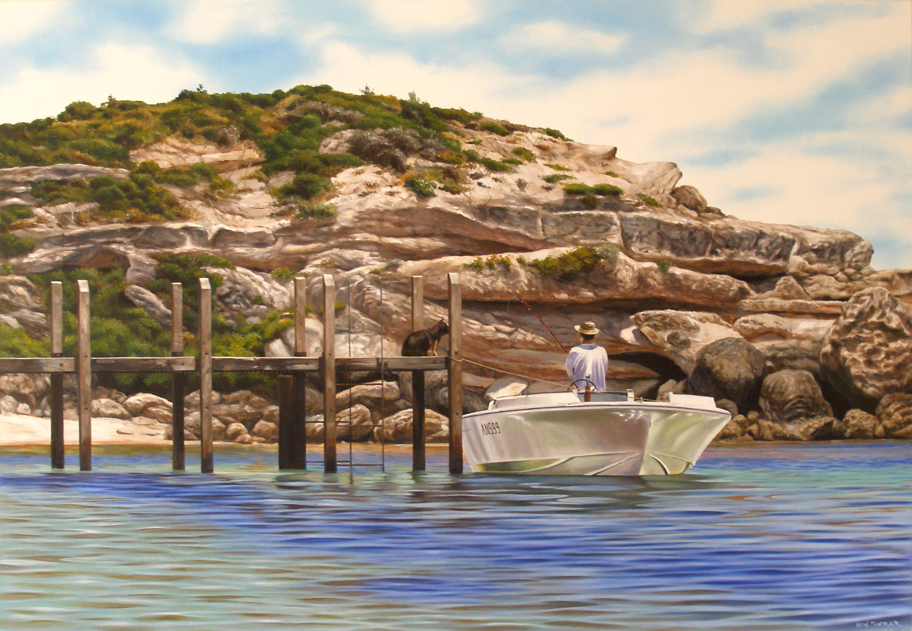 Original Oil Painting on linen by Ben Sherar of a boat moored at the jetty on Gnarabup beach, Margaret River