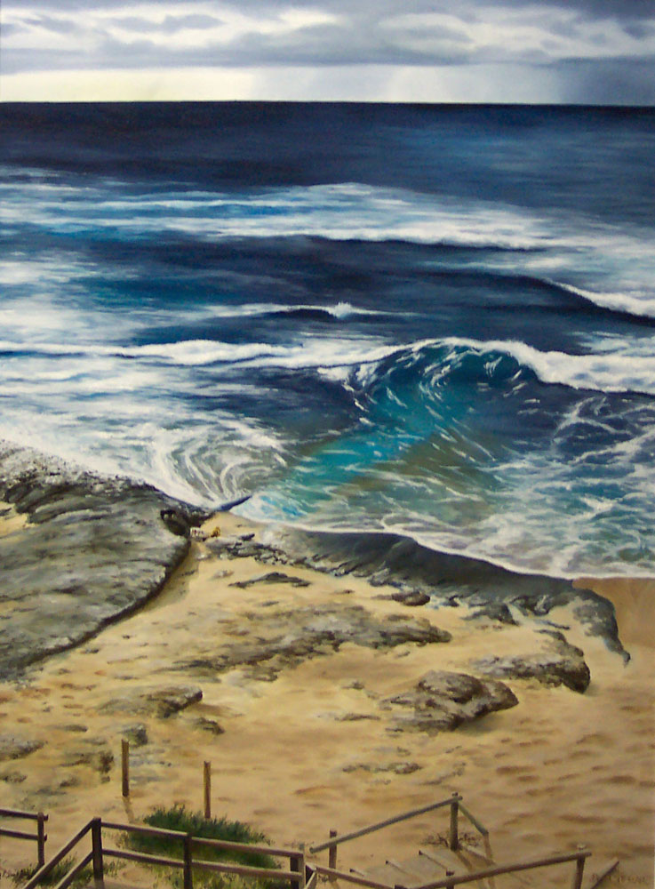 Original Oil Painting on canvas by Ben Sherar of the view down to Prevelly Beach near Margaret River in Western Australia