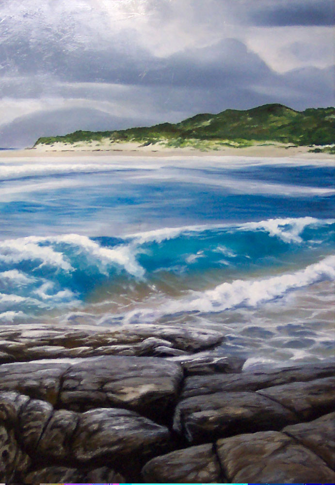 Original Oil Painting on canvas by Ben Sherar of a stormy coastline view in Margaret River, Western Australia