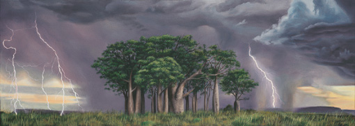 Lightning on the plains original oil painting depicting a storm over a stand of Boab Trees in Kununurra, North East Western Australia by Ben Sherar