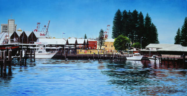 Original Oil Painting on canvas by Ben Sherar of the Fishing Boat Harbour in Fremantle Western Australia