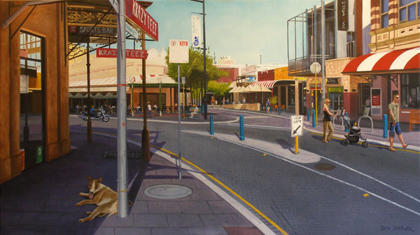 Fremantle street scene original oil painting by Ben Sherar