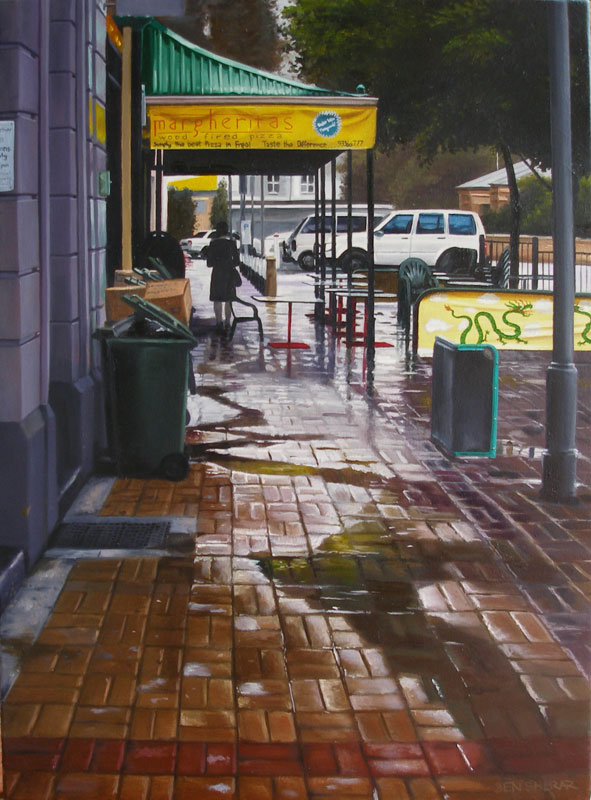 Old Shanghai Fremantle Western Australia original oil painting by Ben Sherar depicting a rainy day at outside the popular food hall