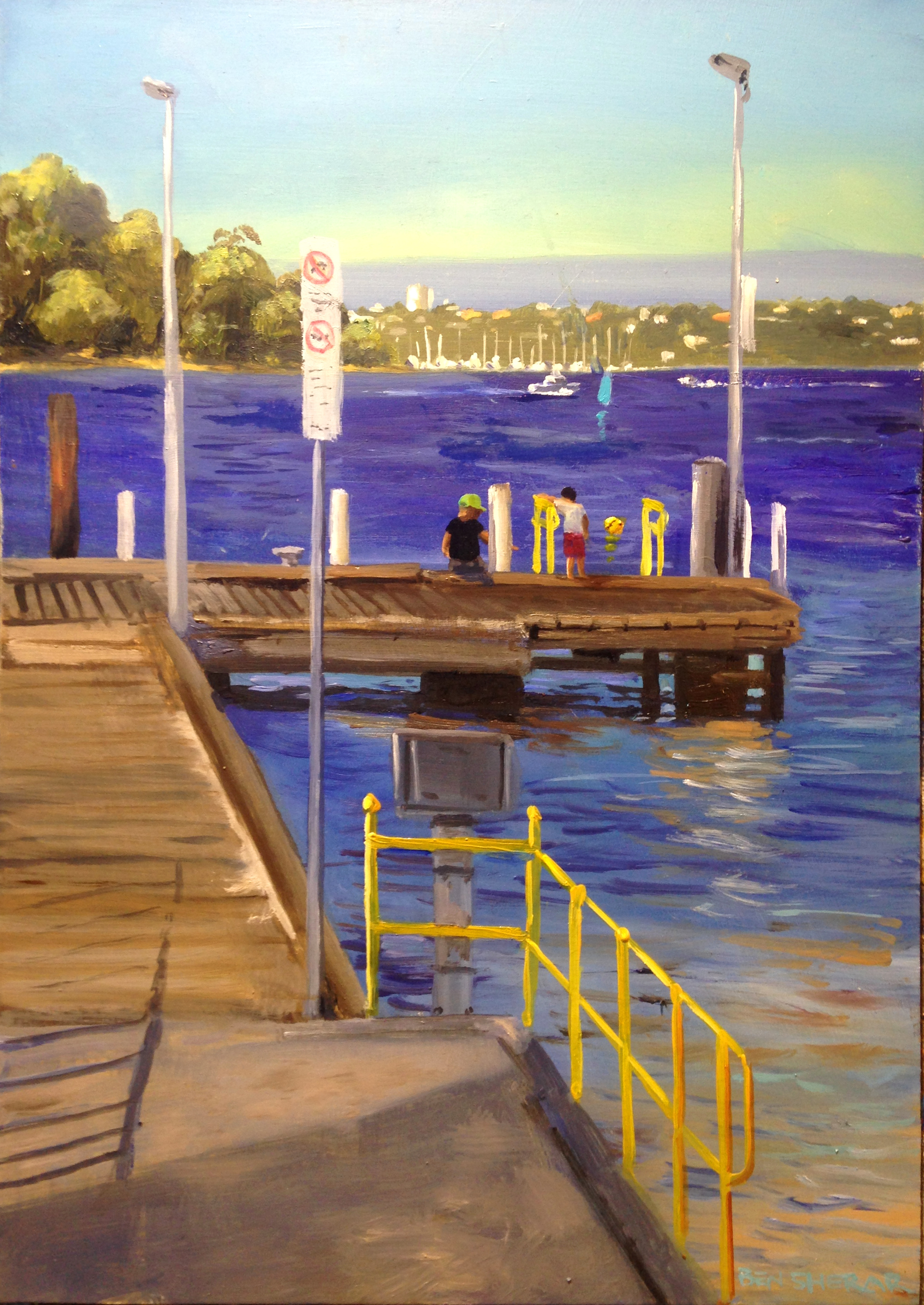 Point Walter Jetty original plein air oil painting on aluminium by Ben Sherar