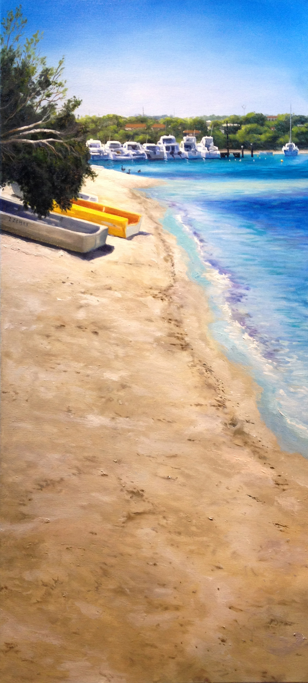 Sandy shore East Fremantle original oil painting by Ben Sherar