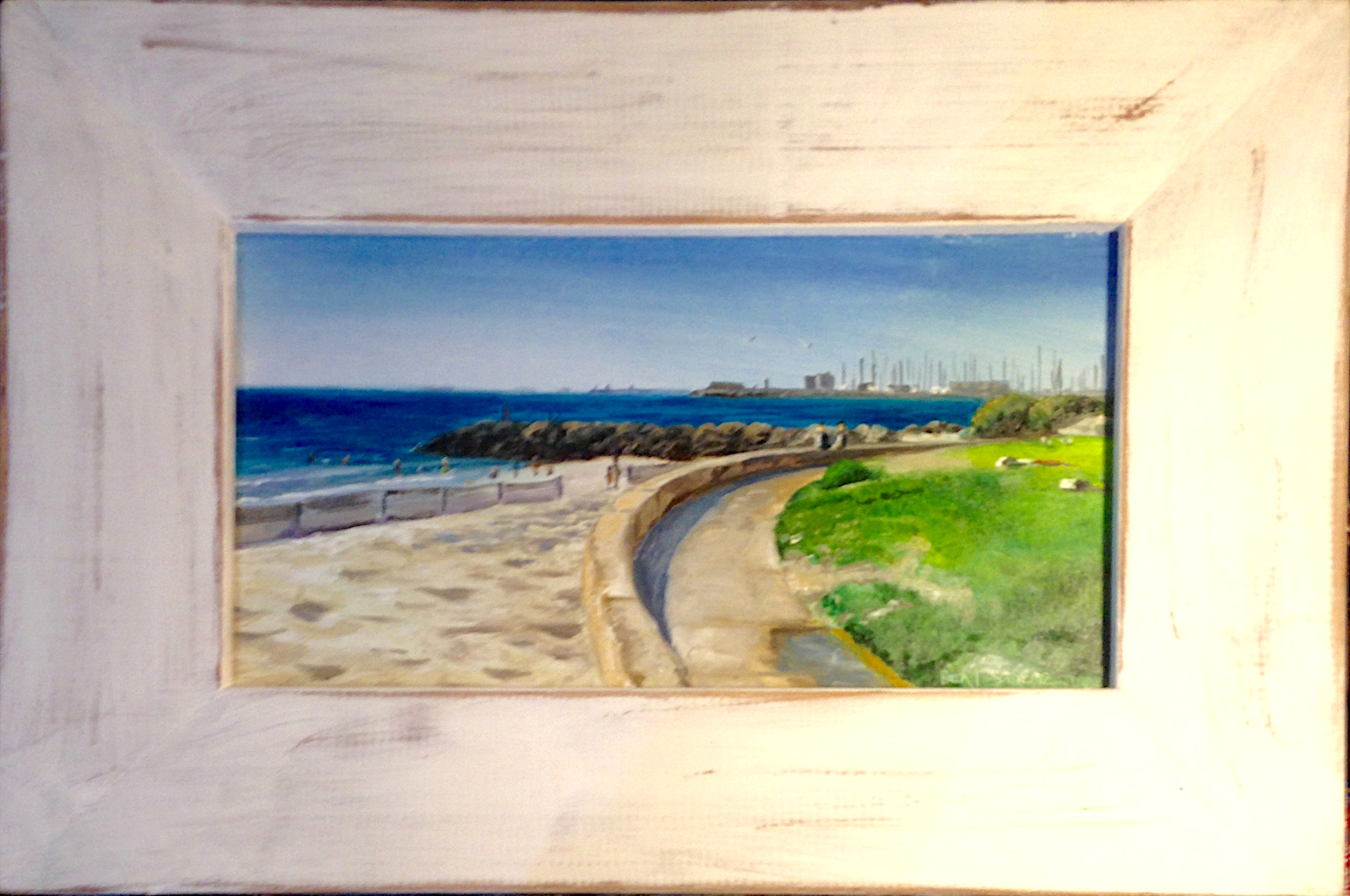 Sunny south beach South Fremantle framed oil painting by Ben Sherar