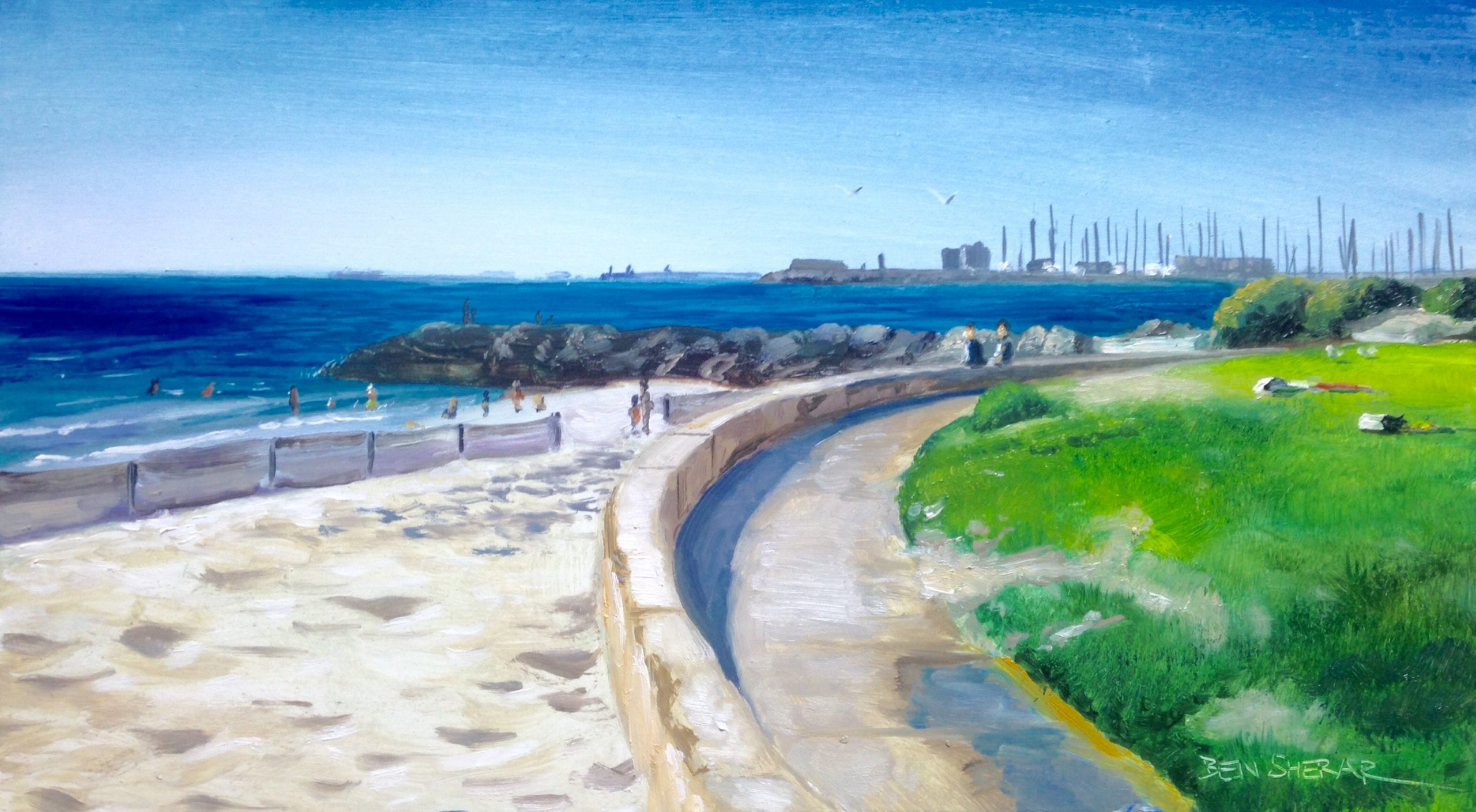 Sunny south beach South Fremantle original oil painting by Ben Sherar
