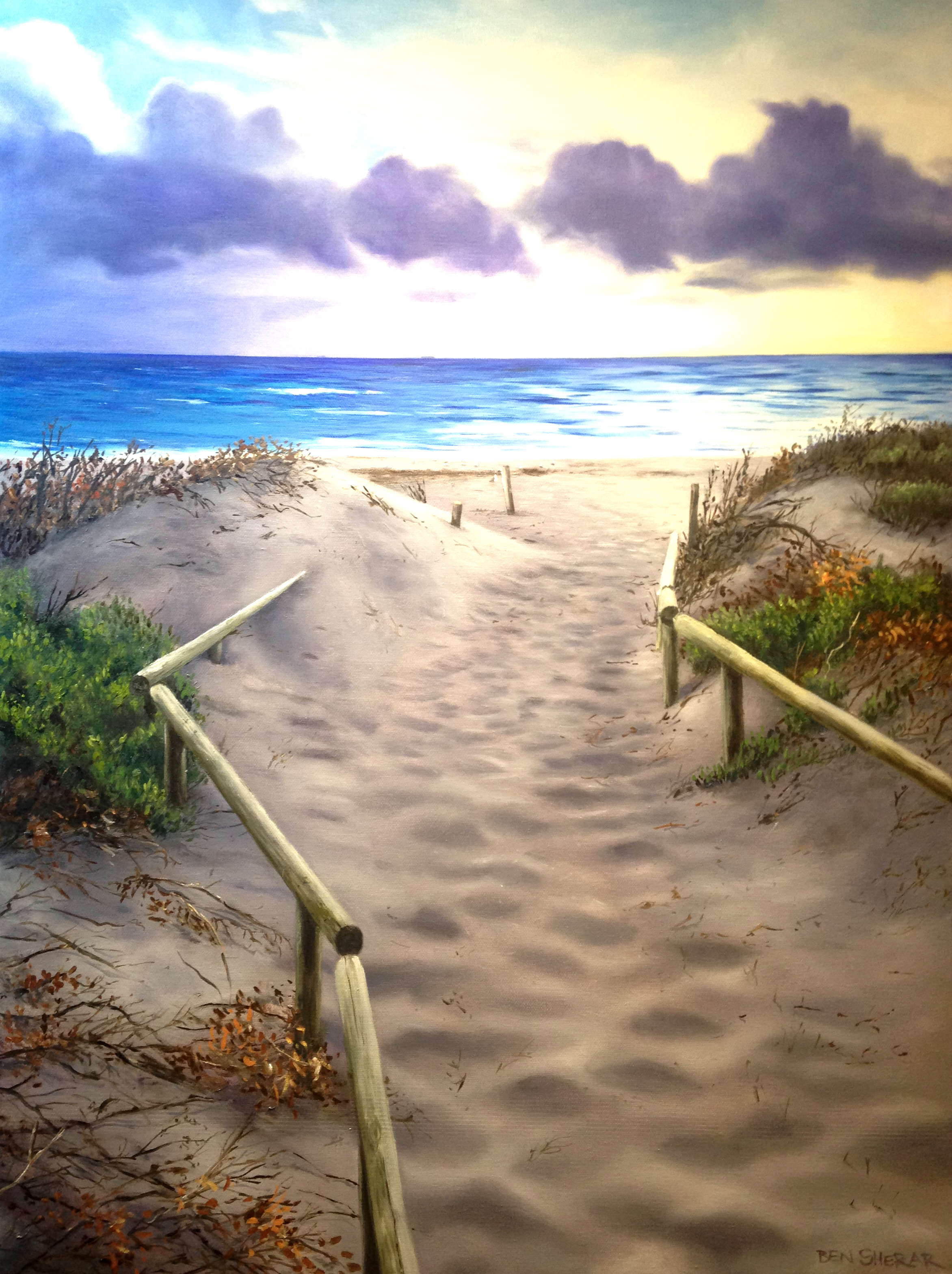 Original Oil Painting on canvas by Ben Sherar of South Beach in South Fremantle