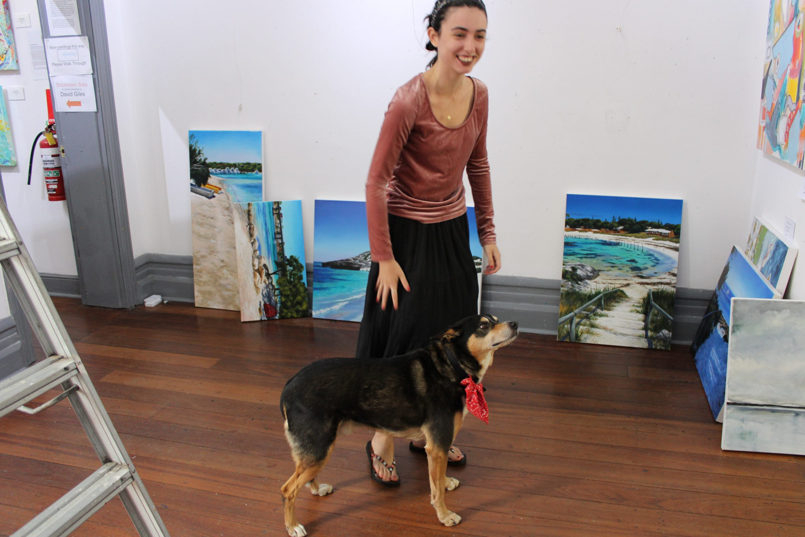 Two Gallery helpers on hanging day