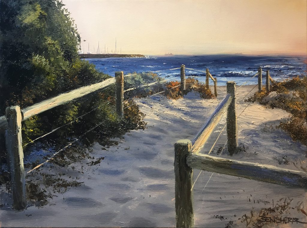 An original oil painting by artists Ben SHerar of Bathers beach in Fremantle Western Australia