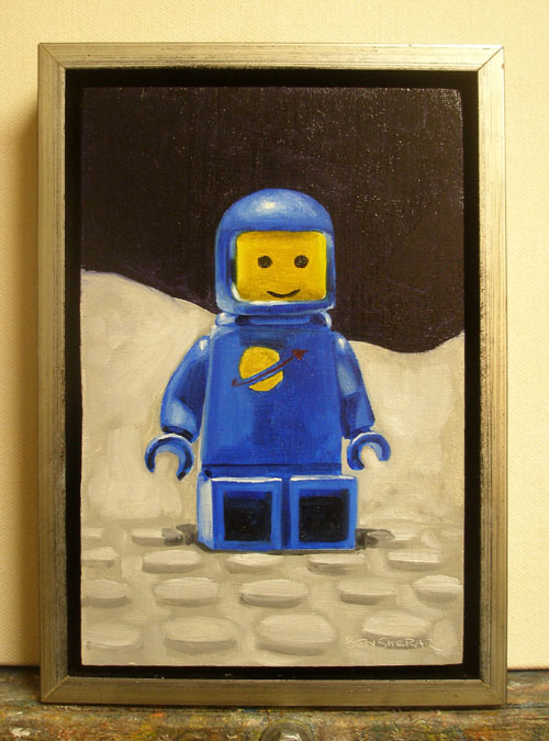 A painting of a blue legoman