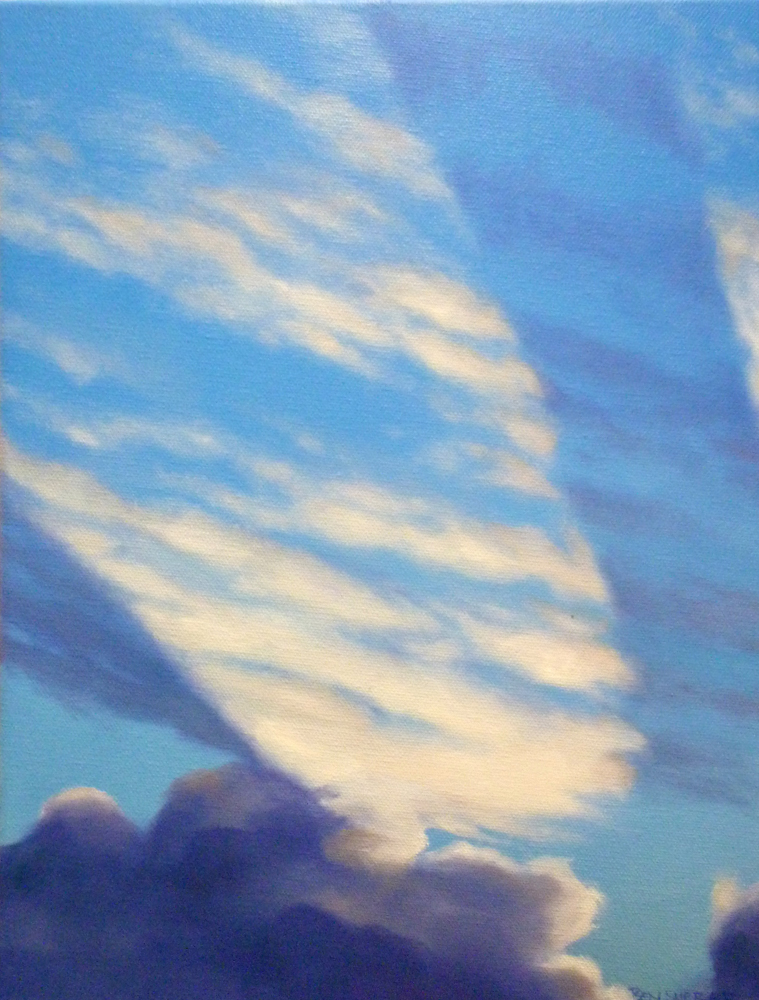 An original oil painting by Ben Sherar of the sun beaming across afternoon clouds