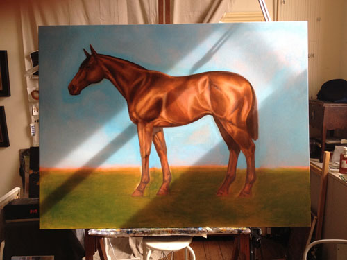 An artists painting of a horse