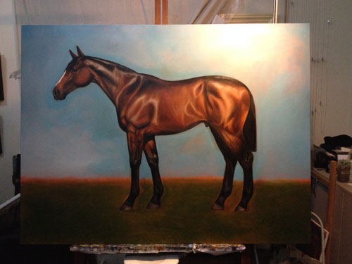 An incomplete painting of a horse