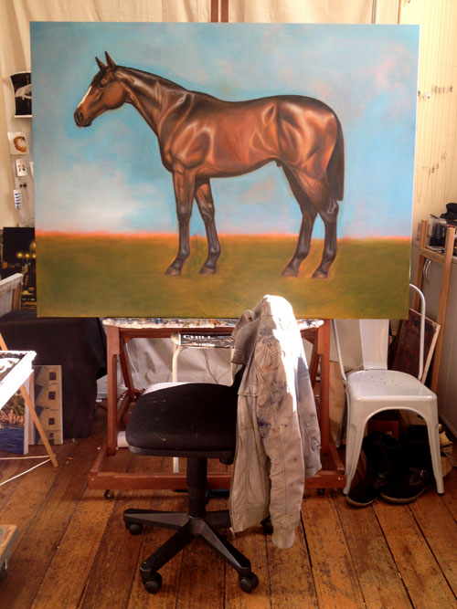 An incomplete oil painting of a brown horse