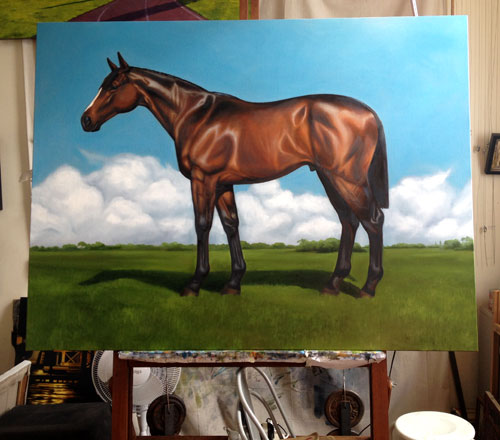 An oil painting of a brown horse