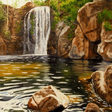 Small waterfall painting up for auction on eBay