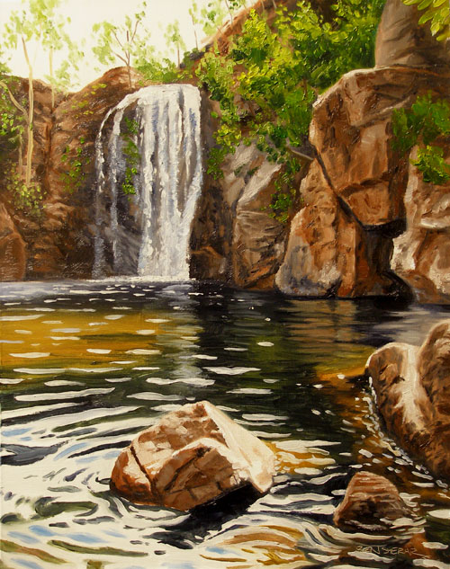An oil painting of a waterfall