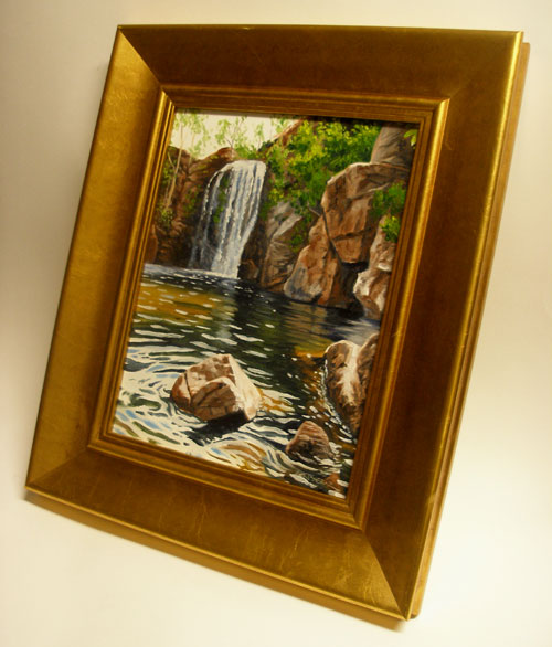 A framed oil painting of Florence Falls