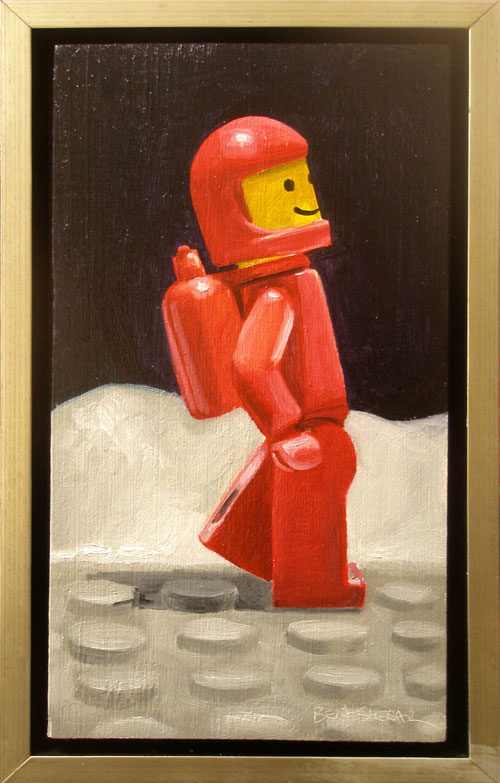 A painting of a red legoman