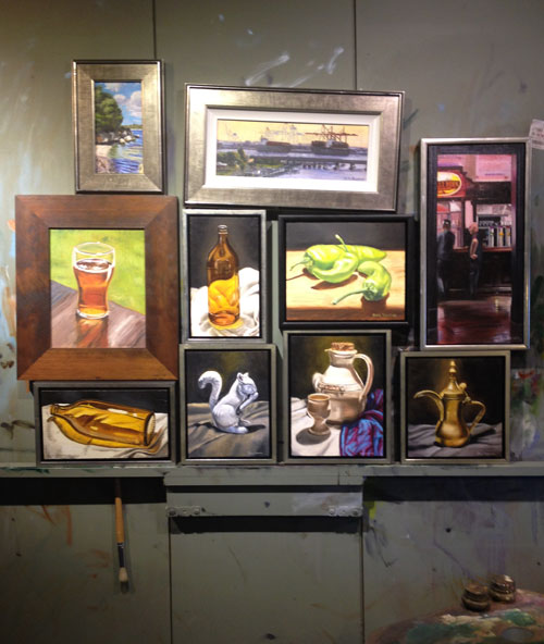 Ten small oil paintings on the easel by Ben Sherar