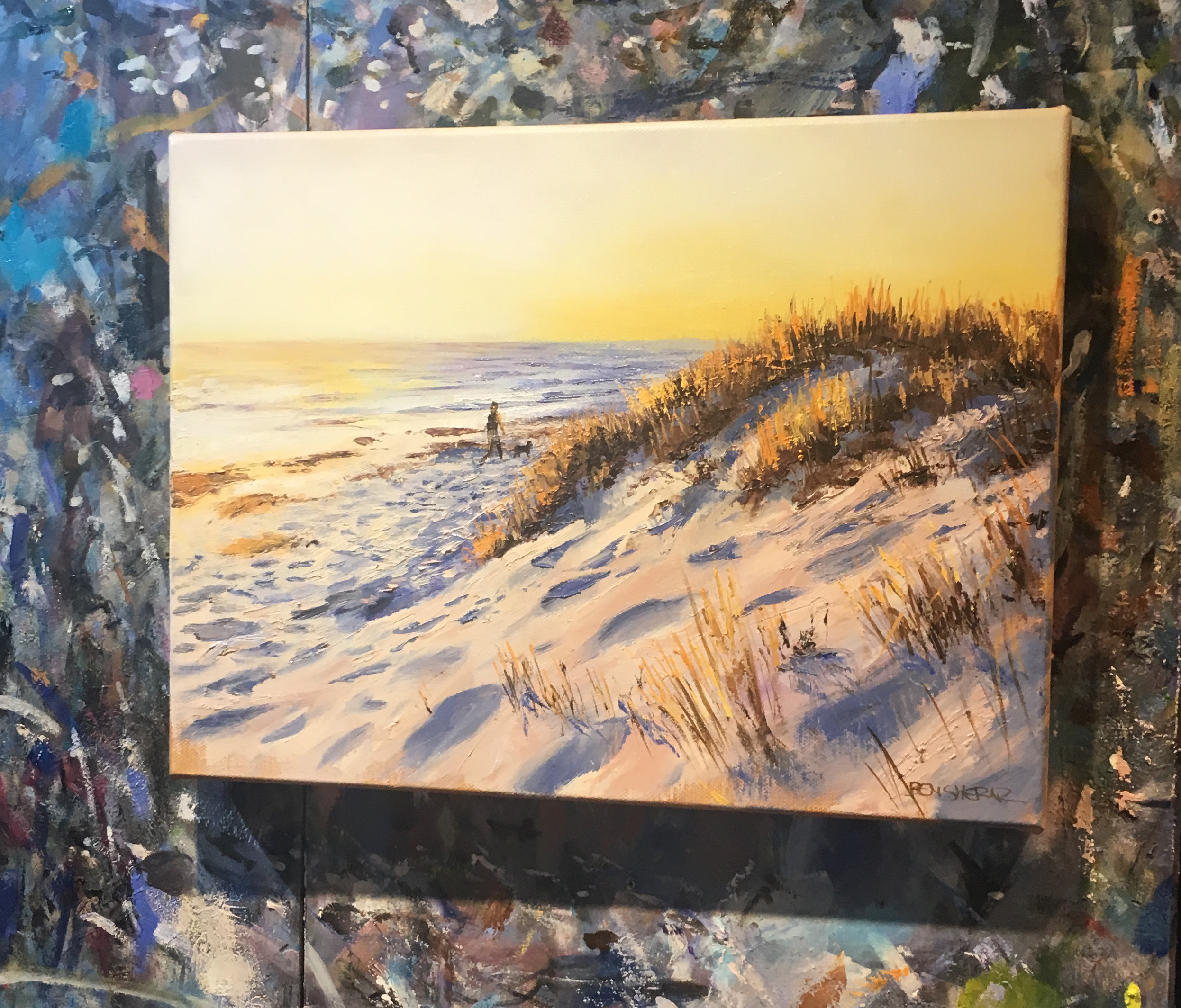 An original oil painting of a beach at dusk by Western Australian artist Ben Sherar