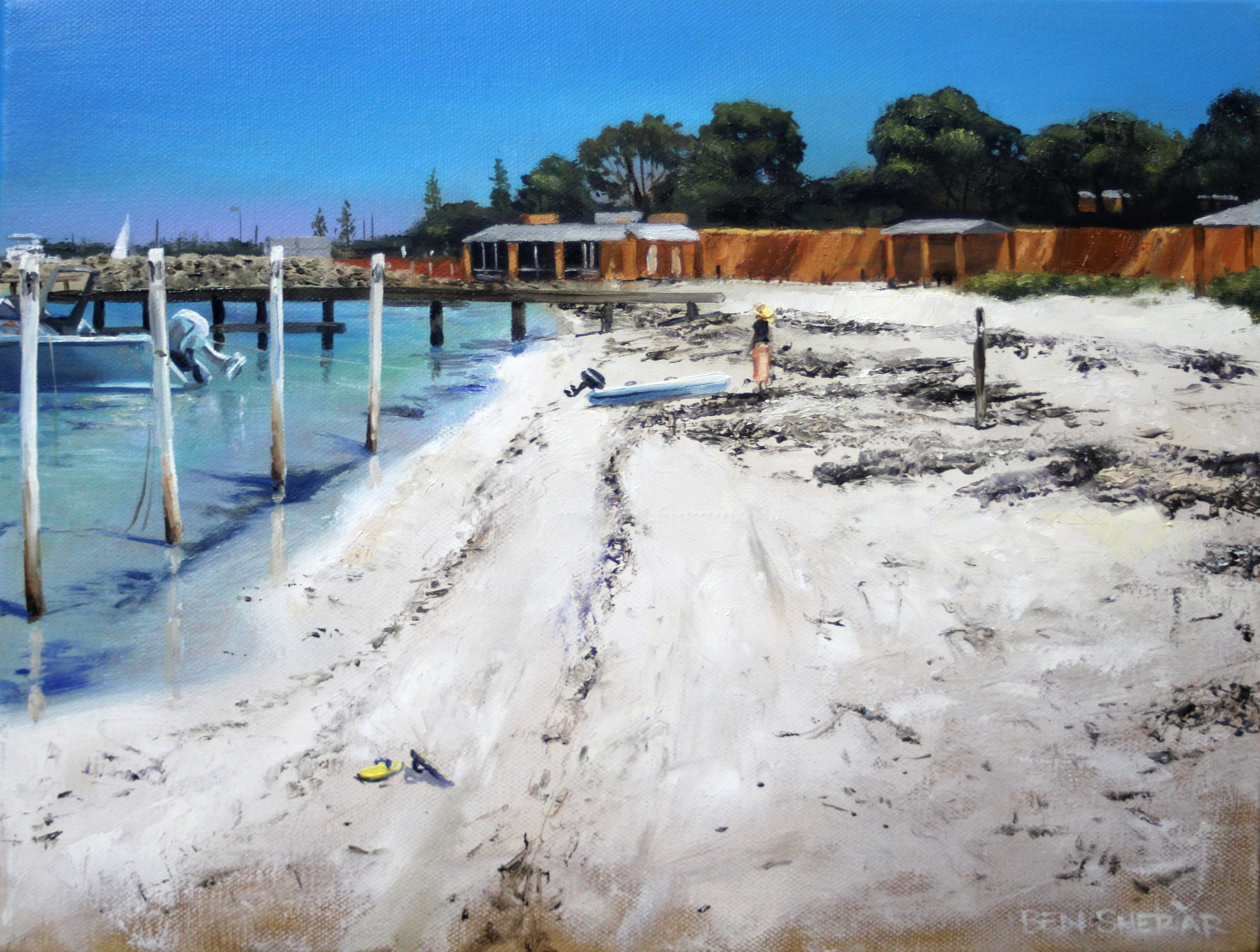 An original oil painting by Artist Ben Sherar of Thomson Bay at Rottnest Island