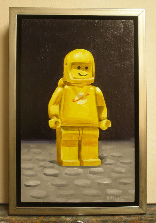 A painting of a yellow legoman