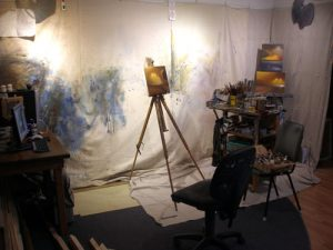 A typically messy artists studio