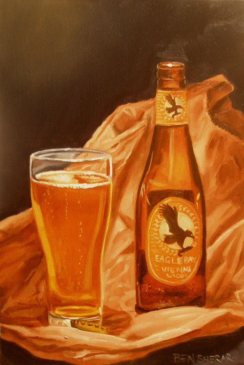 A painting of a Vienna lager beer