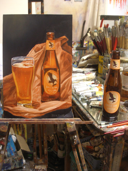 A painting of an Eagle Bay beer