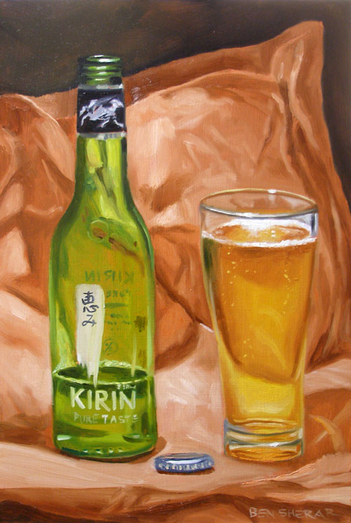 An oil painting of a Kirin brand beer