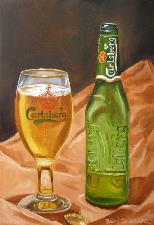 An oil painting of a Carlsberg brand beer bottle