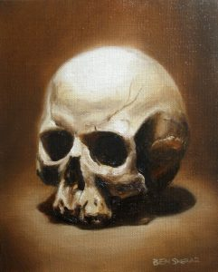 An oil painting of a human skull