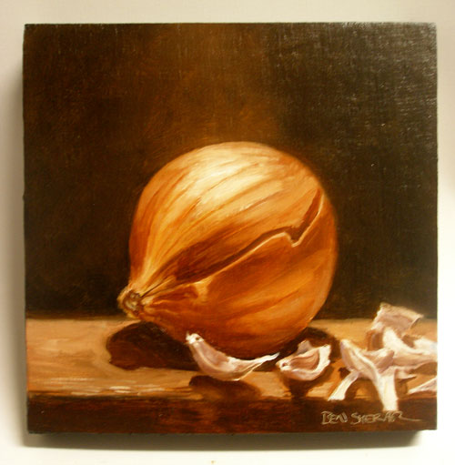 A painting of an onion and a garlic