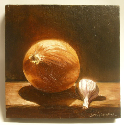 A still life painting of an onion and a garlic
