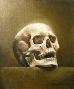 A painting of a human skull