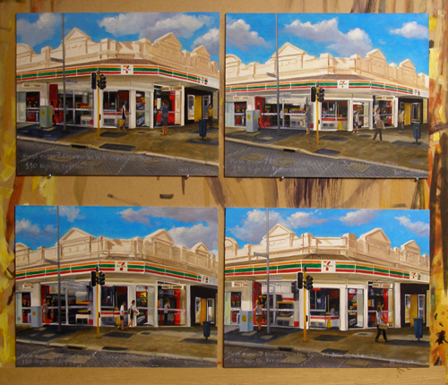 four paintings of a seven eleven store