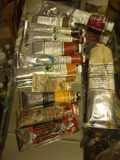 Artists oil painting tubes