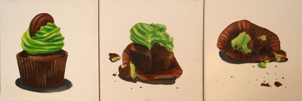 Three paintings of a cupcake
