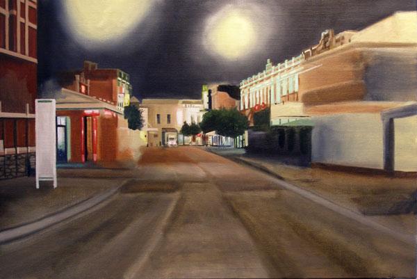 A progress photo of Market street at night painting