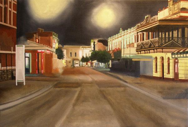 Market street at night painting progress shot