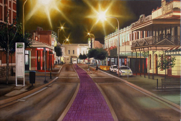 A painting of Market street in Fremantle at night
