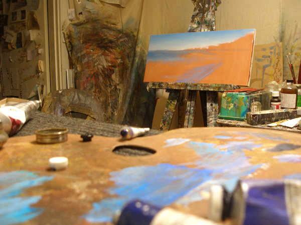 Morning light at Freshwater Bay original oil painting progress photo