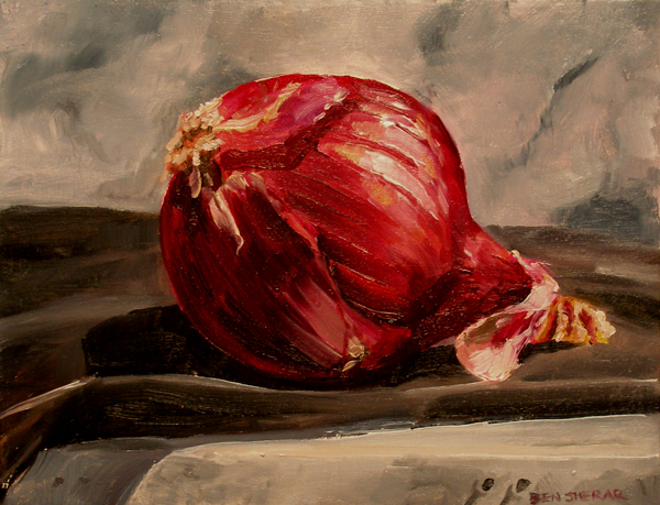 A painting of a red onion