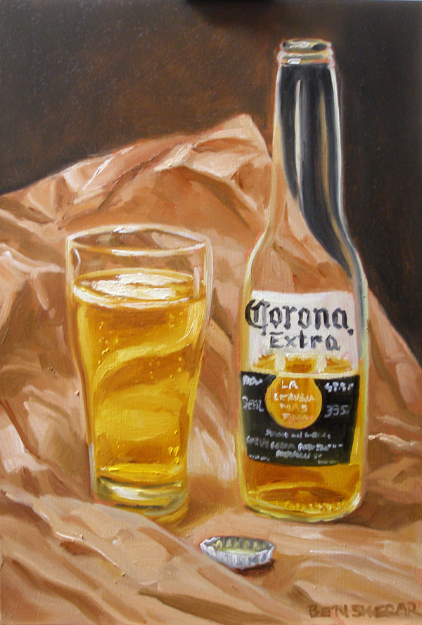 A painting of a Corona beer bottle