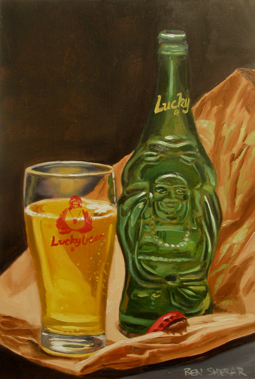 A painting of a Lucky Beer brand bottle